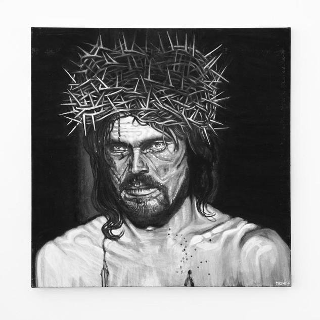 WILLEM DEFOE, 2017  black & white Acrylic on Canvas  Ca 120 x 120 cm signed