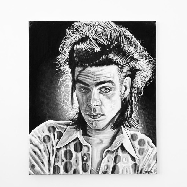 NICK CAVE, 2017  black & white Acrylic on Canvas  Ca 120 x 100 cm signed