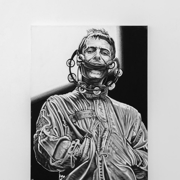 LIAM GALLAGHER, 2017  black & white Acrylic on Canvas  Ca 140 x 100 cm signed