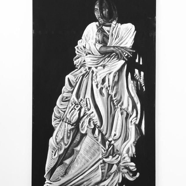 TARSUMI HIJIKATA, 2017  black & white Acrylic on Canvas  Ca 150 x 90 cm signed