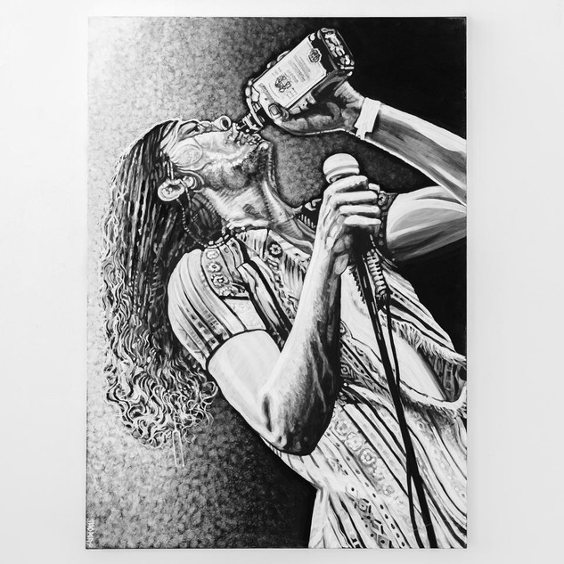 GIBBY HAYNES, 2017  black & white Acrylic on Canvas  Ca 140 x 100 cm signed