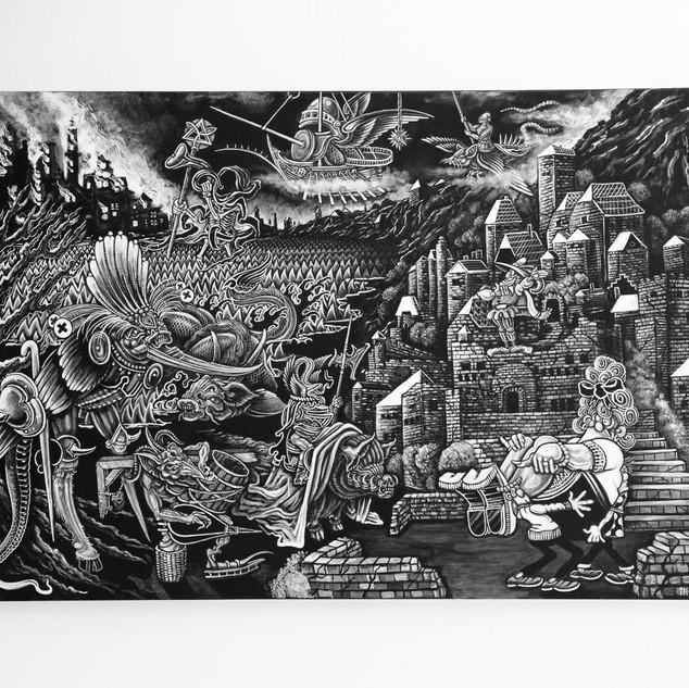 APOCALYPSE NOW, 2017   black & white Acrylic on Canvas  Ca 120 x 180 cm signed