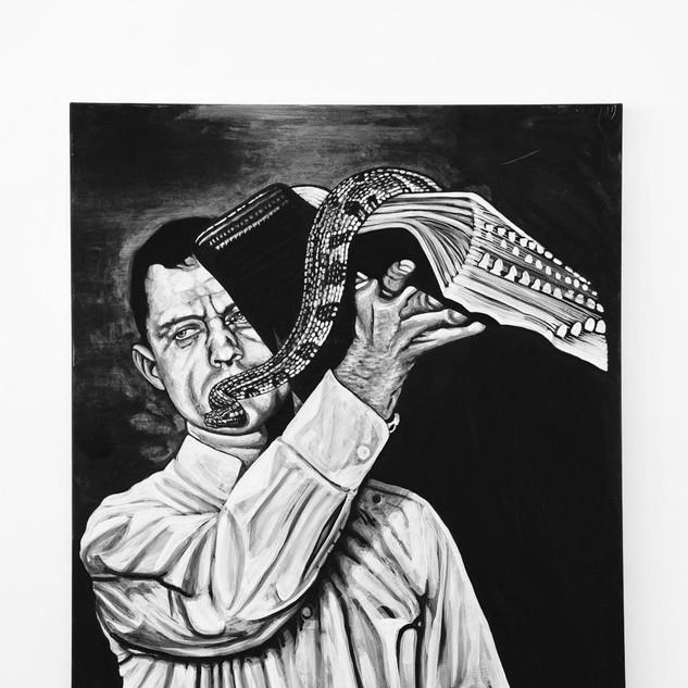 SERPANT HANDLER, 2017   black & white Acrylic on Canvas  Ca 140 x 120 cm signed