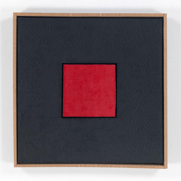 ROTE MITTE, 2020  Acryl auf Pappe 53 x 53 x 5,5 cm rückseitig signiert, datiert und betitelt