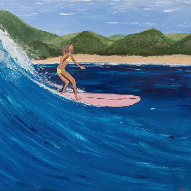 HONOLULU LULU, 2018  Acrylic on Board 152.4 x 152.4 cm  Here we can see Lulu surfing in South America. It was on this trip that she decided to take up the challenge, and join her boyfriend in a pursuit that he is passionate about. Her poise and grace made her a natural surfer, and she quickly gained the confidence to take on the the bigger waves. Within months of her return to Hawaii, she took on Pipeline; home to some of the biggest waves in the world.