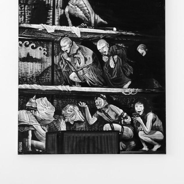 DAI RAKUDA KAN, 2018  black & white Acrylic on Canvas  Ca 140 x 120 cm signed