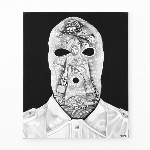 BALACLAVA, 2017  black & white Acrylic on Canvas  Ca 120 x 100 cm signed