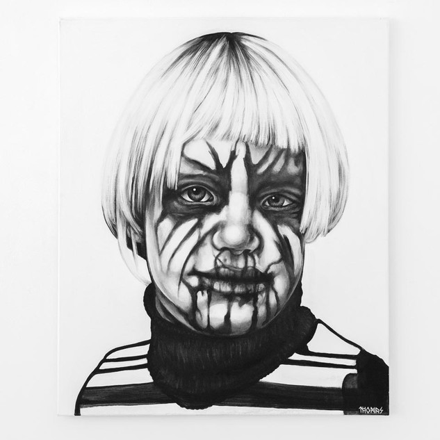 SELF (4yrs old), 2017  black & white Acrylic on Canvas  Ca 120 x 100 cm signed