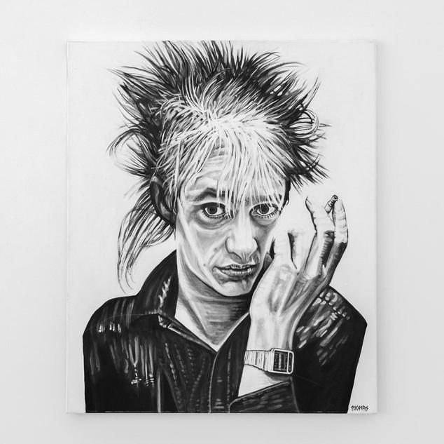 BLIXA BARGELD, 2017  black & white Acrylic on Canvas  Ca 120 x 100 cm signed