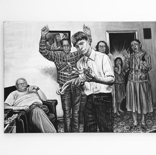 SERPENT HANDLING, 2018   black & white Acrylic on Canvas  Ca 100 x 140 cm signed