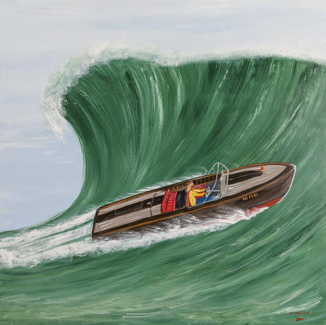 """FEARLESS FRANK, 2018  Acrylic on Board 152.4 x 152.4 cm  Fearless Frank builds timber speedboats for a living. His other love is surfing. Frank takes on the biggest waves on his surfboard, but likes nothing better than trying out a wave in his favourite boat 'No Fear'. """"I have never seen anything like it !"""" says his brother Hank. """"It's like he is part dolphin! He always manages to pick just the right wave in that boat. I have seen a wave close over him, only to see him come out of a perfect barrel at the other end. When I hear the reassuring rumble of that big old 312 Y-block motor, I know he is ok. Yeah. He is part dolphin for sure..."""""""