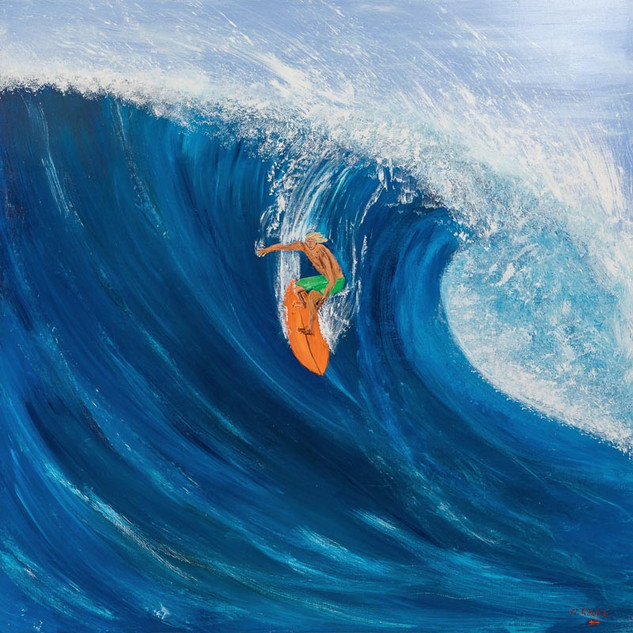 BEAUTIFUL DAVE, 2018  Acrylic on Board 152.4 x 152.4 cm  Here we can see Beautiful Dave taking the drop on a good size wave at Skull Point. Skull Point is considered to be one of the best wave breaks, however, it is also considered way too dangerous for most. Most, but not Dave. Dave is the ultimate show man. Everybody knows that when the big waves are pumping, Dave is out. He appears out of the blue. You never see him paddle out. He somehow manages to leap from a rock shelf; a feat in itself that requires perfect timing. With a headland full of admirers, Dave comes to life and puts on the best show for the crowd. Then, as quickly as he came, he is gone; leaving all to guess if he survived that final ride, usually the biggest wave of the day.