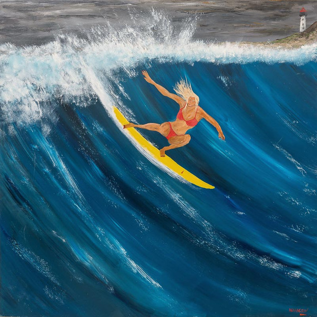 ANNIE THE ACE, 2018  Acrylic on Board 152.4 x 152.4 cm  Annie grew up the only girl in a family of nine brothers. Annie could out fight, out drink, out swim and out surf all of her brothers. She was the most competitive surfer to hit the waves in years; heading to the World Championships when she was just 17. In this painting, she is at a secret surf break known as Treachery. It is Winter, and not only is the water cold, it is dangerous. There are jagged rocks just below the surface that can rip you to shreds, a strong undercurrent that can quickly drag you out to sea, and of course, the ever present shark population. Wet suit? No way says Annie. The boys can have mine. I like to feel alive when I surf- no restrictions.