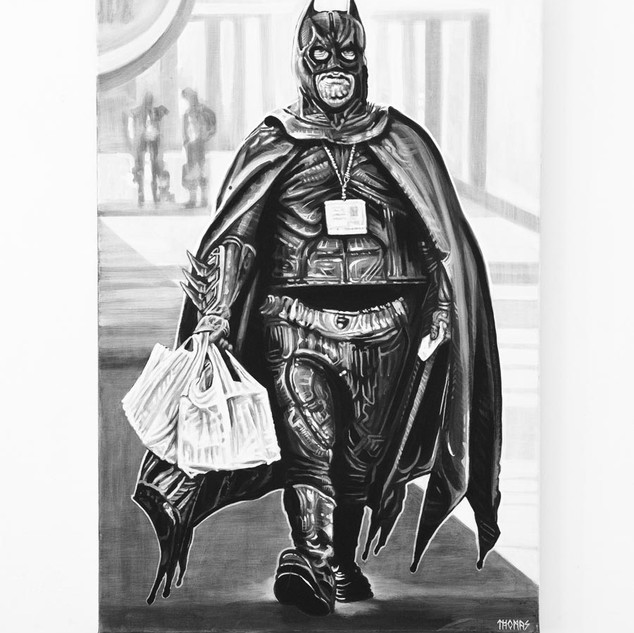 BATMAN, 2018  black & white Acrylic on Canvas  Ca 120 x 80 cm signed