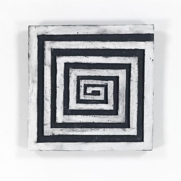 NACH INNEN, 2020  Acryl auf Pappe 38 x 38 x 4,3 cm rückseitig signiert, datiert und betitelt