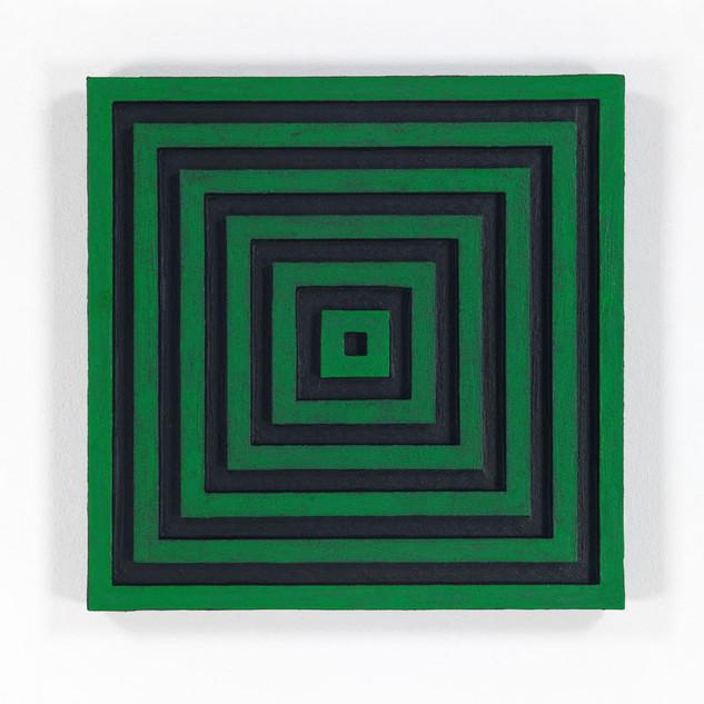 ZENTRUM, 2020  Acryl und Tusche auf Pappe 46 x 46 x 4 cm rückseitig signiert, datiert und betitelt