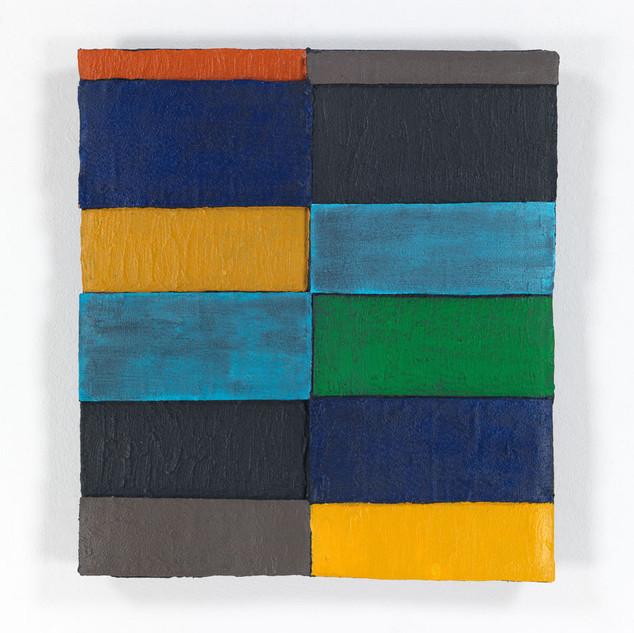 OHNE TITEL, 2020  Acryl auf Pappe 49,4 x 44,5 x 4,5 cm  rückseitig signiert und datiert