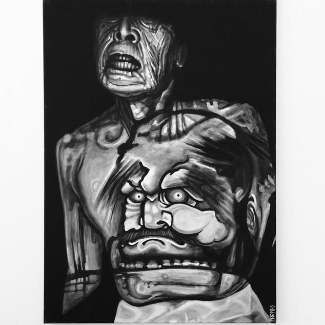 KAZUO OHNO (projection), 2017   black & white Acrylic on Canvas  Ca 140 x 100 cm signed