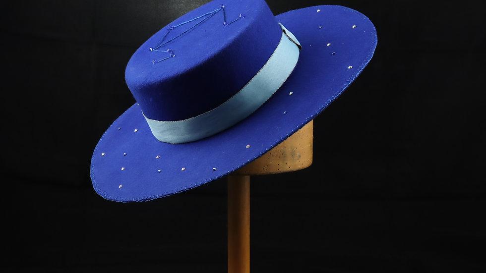 Royal Blue Felt Boater