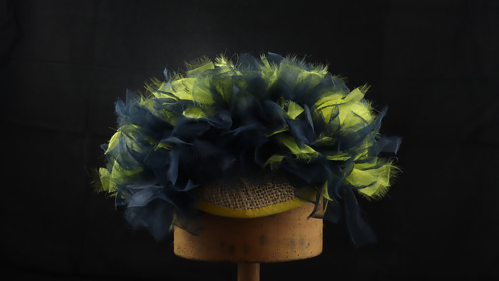 Navy/Yellow Ombre Organza Hat