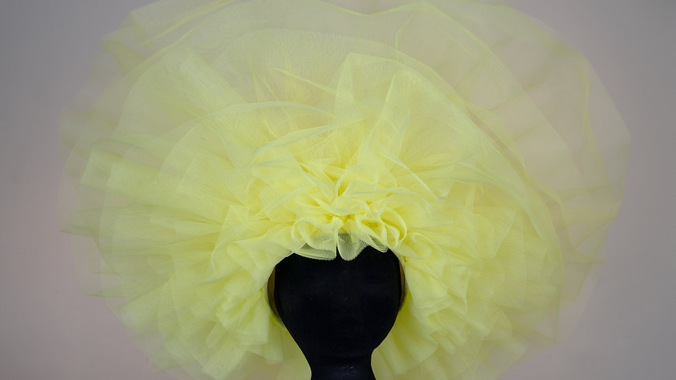 Oversized Yellow Ruffle Hat