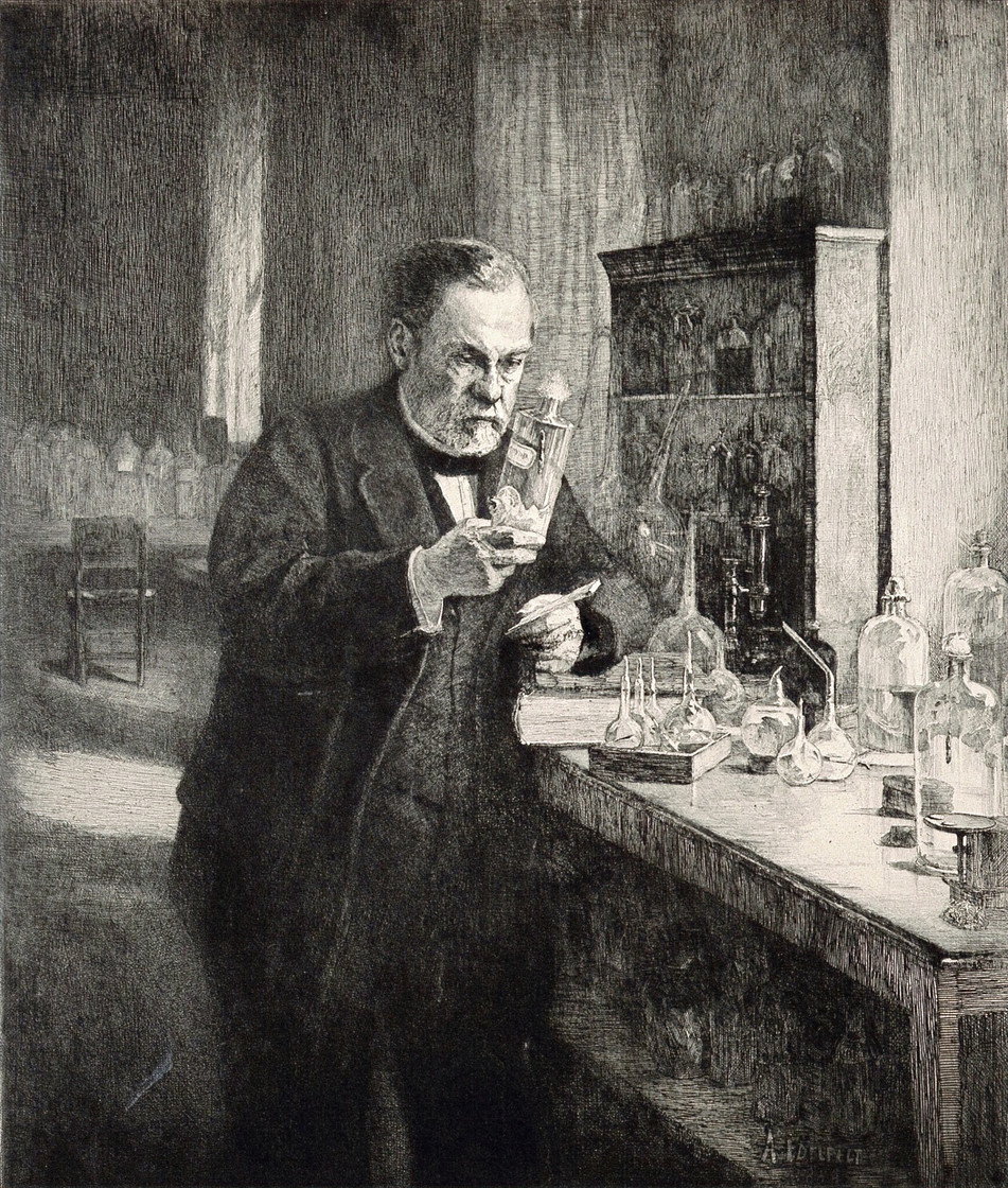 Final Etching for Louis Pasteur Centennial