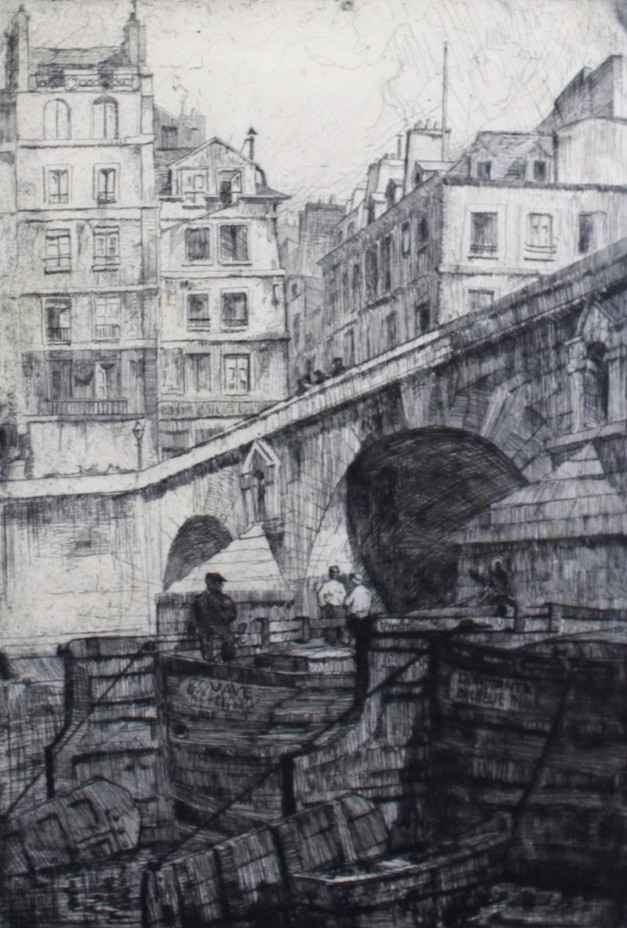Boats under Pont Marie, 1930's