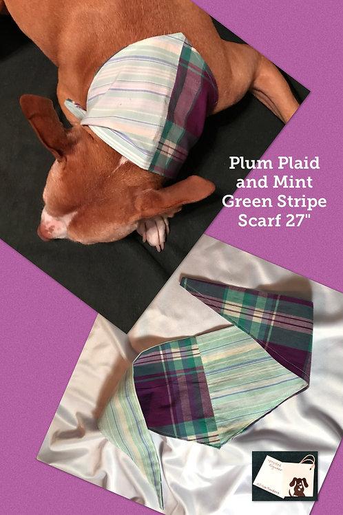 Plum Plaid and Mint Green Stripe Scarf