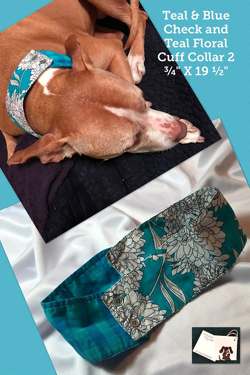 Teal & Blue Check and Teal Floral Cuff Collar