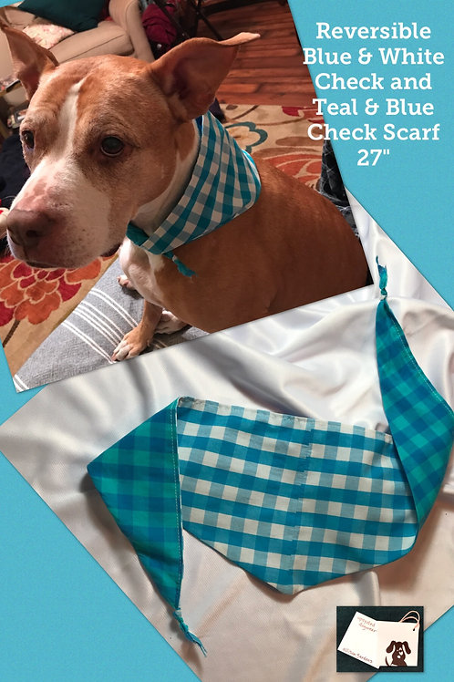 Reversible Blue & White Check and Teal & Blue Check Scarf
