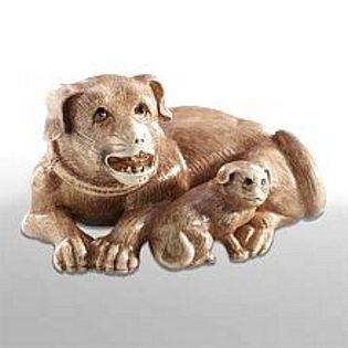 Netsuke Dog with Puppy