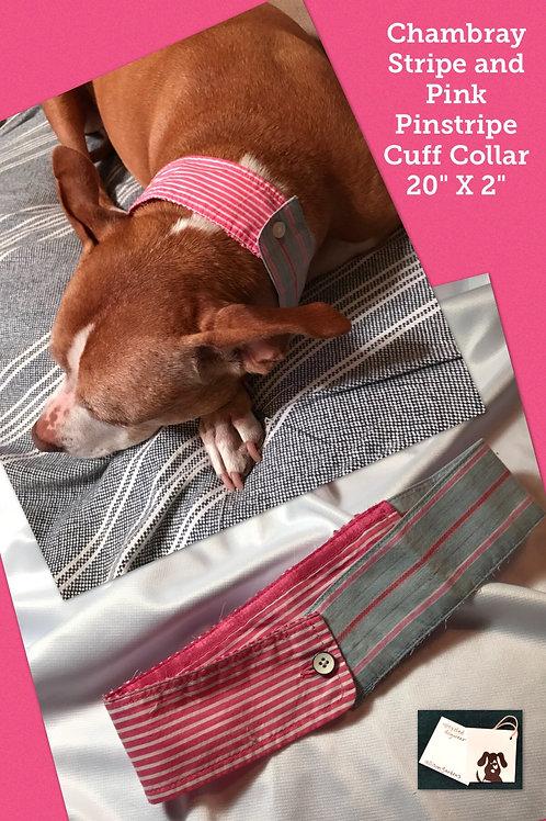 Chambray Stripe and Pink Pinstripe Cuff Collar