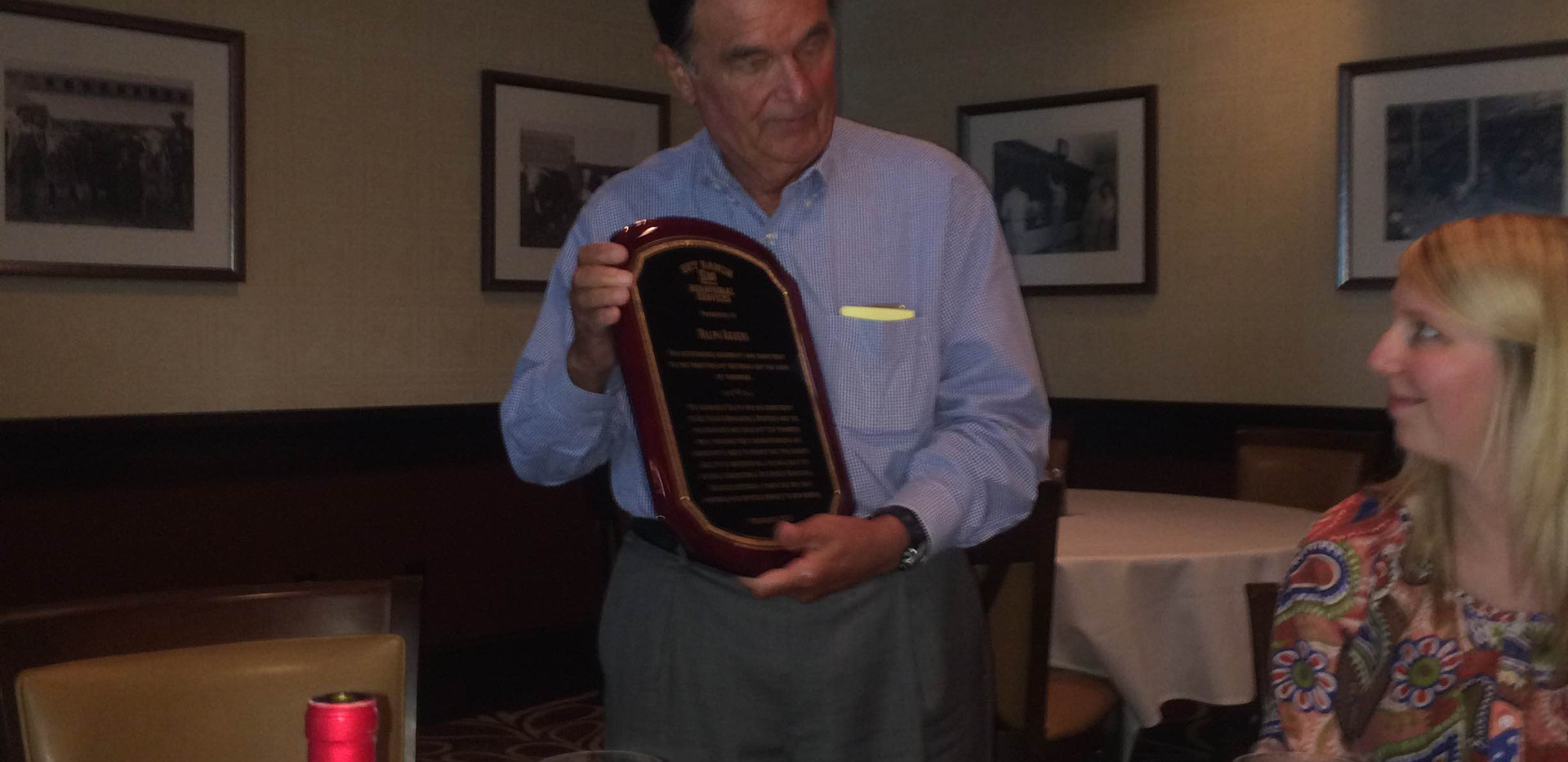 Ralph Aguera of the Sky Ranch Foundation with his plaque