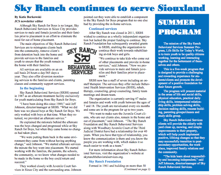 Article in local JCS newsletter