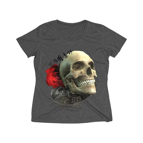 Hustler Skull Women's Heather Wicking Tee