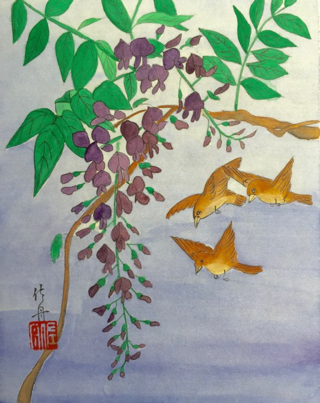 Misa's birds and wisteria