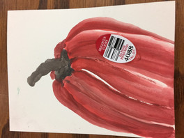 Red Bell Pepper with sticker etegami
