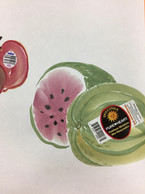 Watermelon with sticker