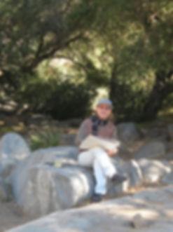 Takashi at grinding rocks site, sketchin