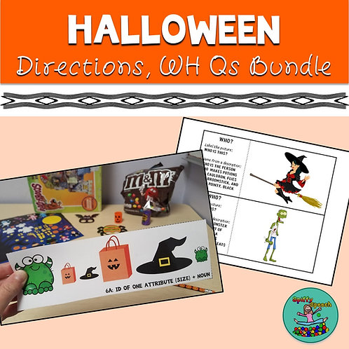 Halloween Speech Bundle: Boom Games, Direction-Following, WH Questions