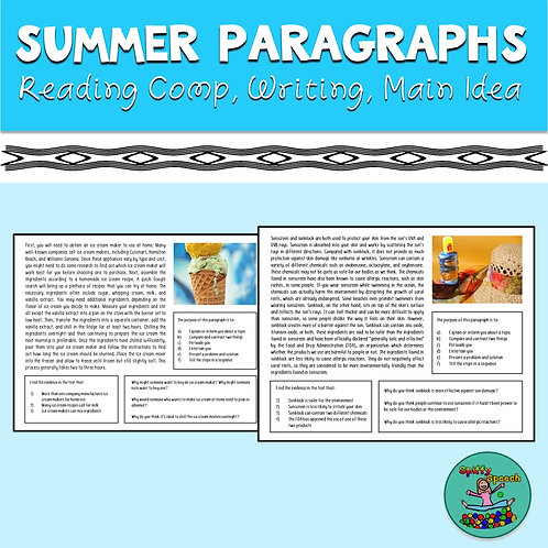 Summer Paragraphs for Reading Comprehension & Main Idea