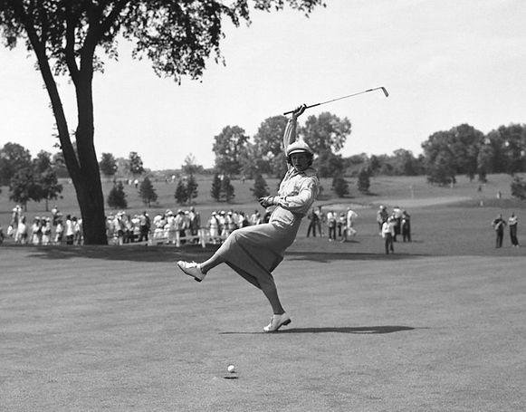 Babe Didrikson, 1950, Urging Their Putt