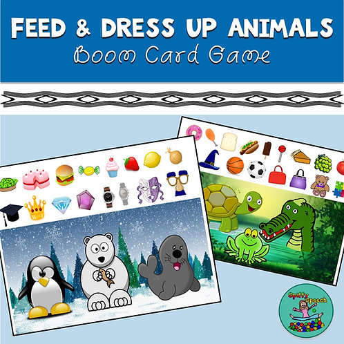 Feed and Dress Up Animals Boom Card Game