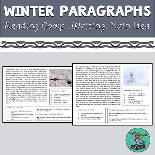 Winter Paragraphs: Reading Comprehension, Writing, Main Idea