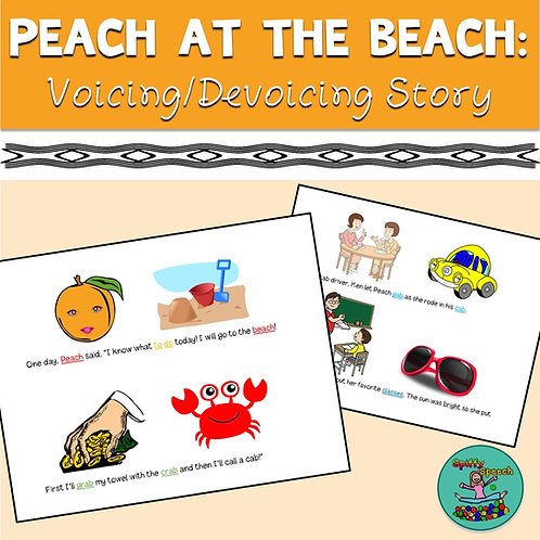 Peach at the Beach - Voicing/Devoicing Story with Minimal Pairs