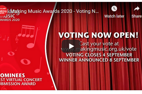 Nomination for best Virtual Concert Video - vote closes 5pm Fri 5 September.  Vote Over the Rainbow
