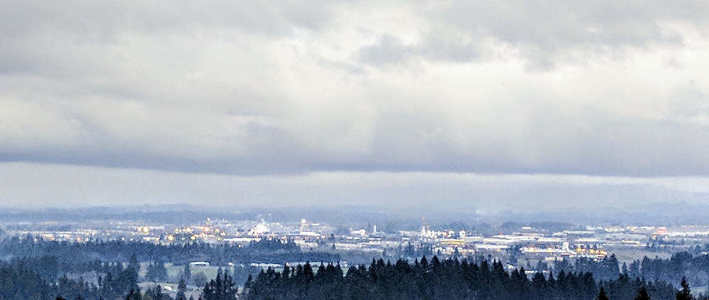 From the Skyline Ridge North of Hillsboro, Oregon the Cities many factories are evident.