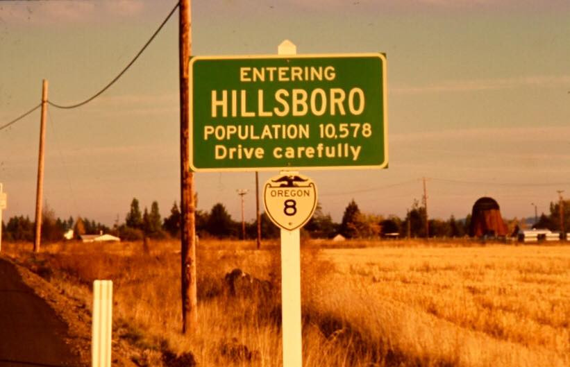 A photo of the population sign alonh Highway 8 from 1968
