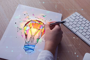 Hand drawing abstract polygonal lamp on