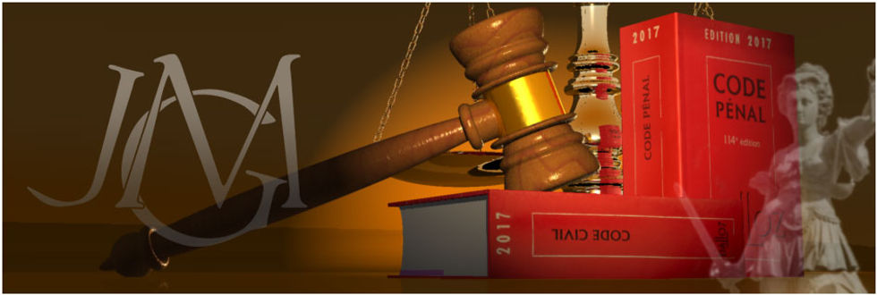 allégorie avec : justice, maillet et balance, codes pénal et civil, monogramme JGM